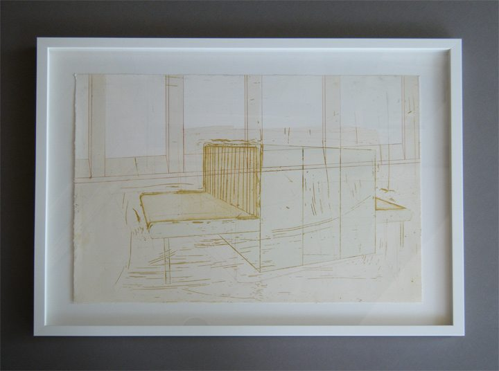 "Modern Art in a White Float Frame ""Workstations"""