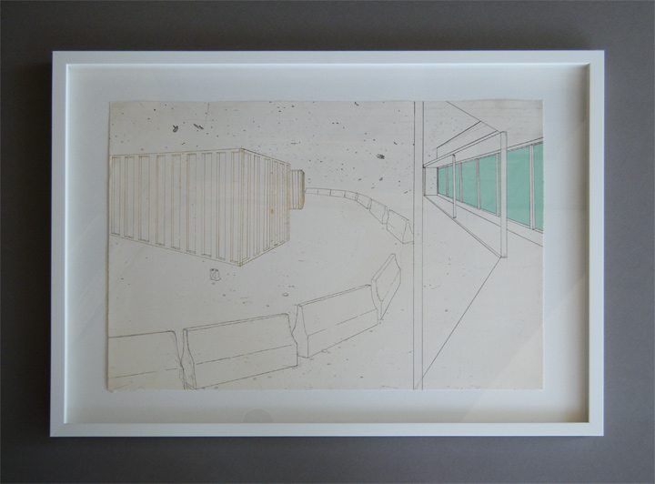 "Modern Art in a White Float Frame ""Barriers"""