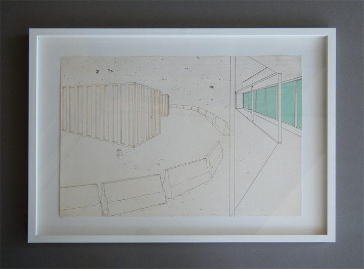 "Modern Art in a White Float Frame ""Barriers"""