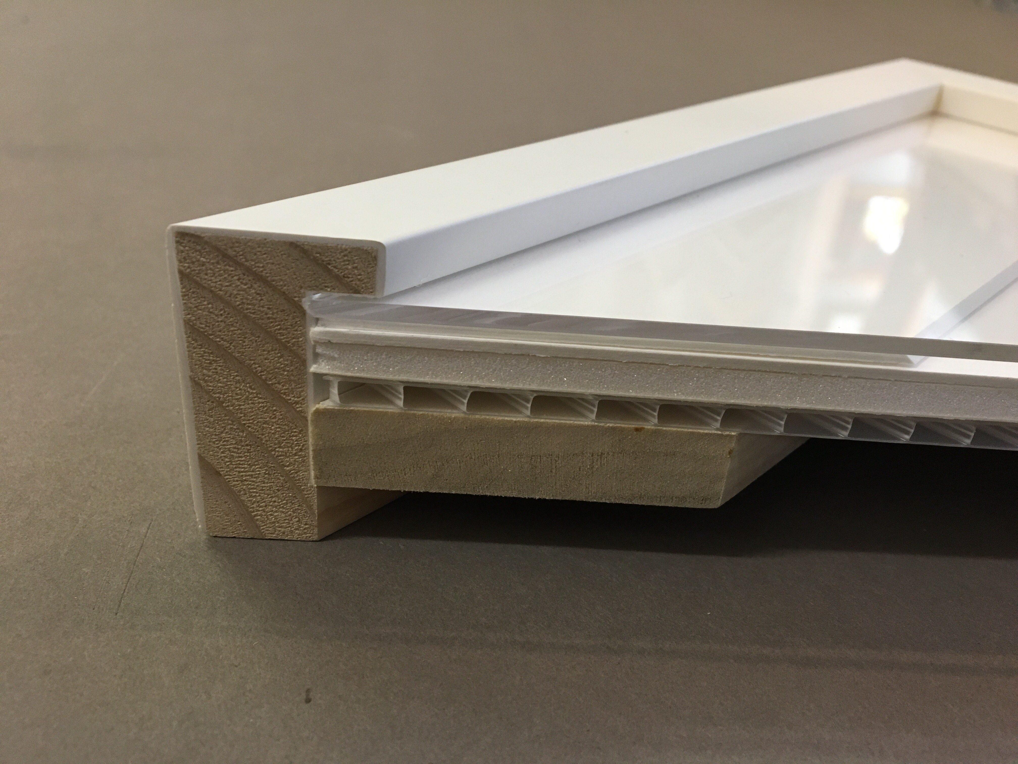 Cross section through a custom strainer reinforced frame