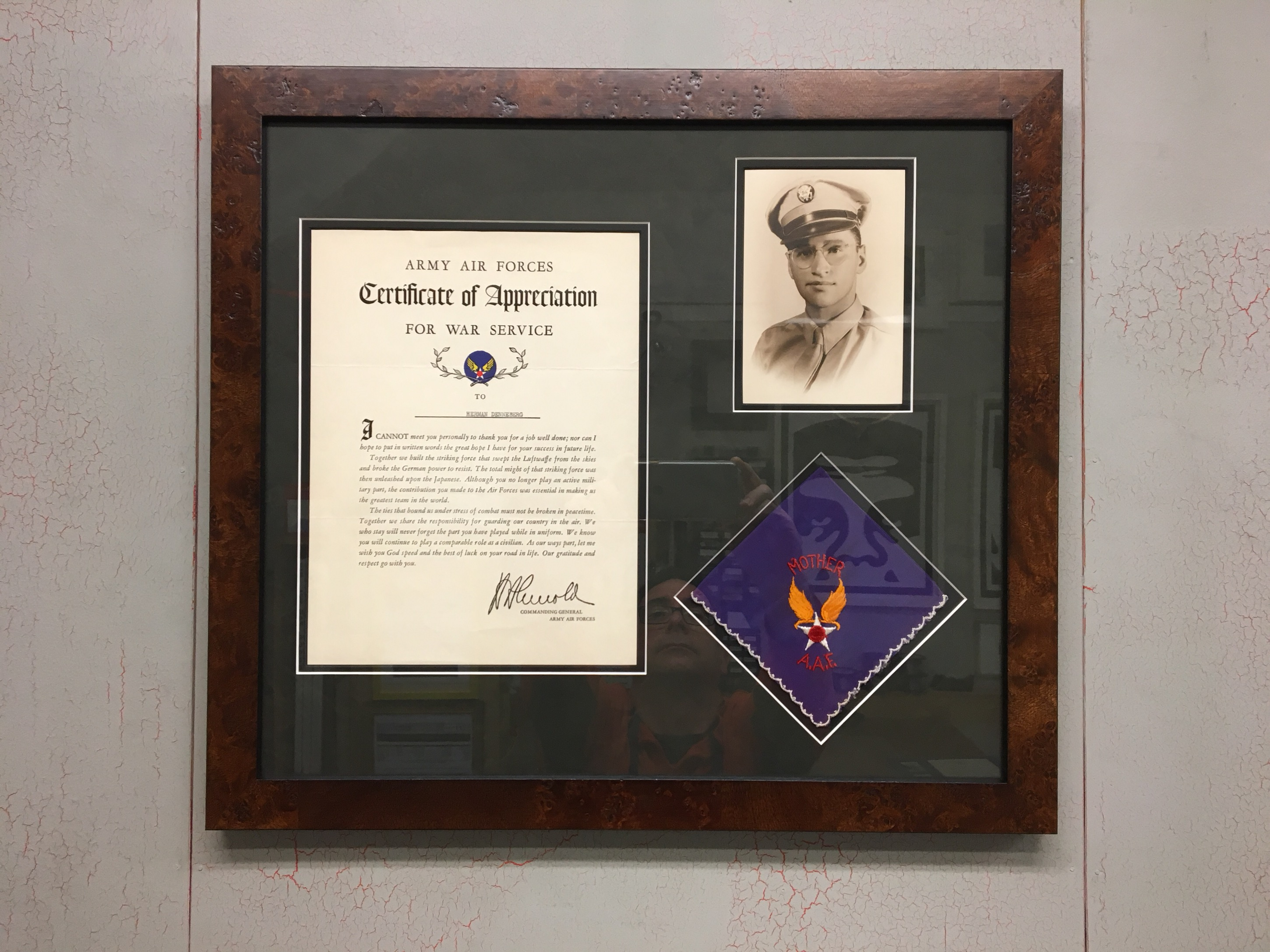 WWII Army Air Force Letter, Photo and Kerchief Custom Framed in Walnut Burl