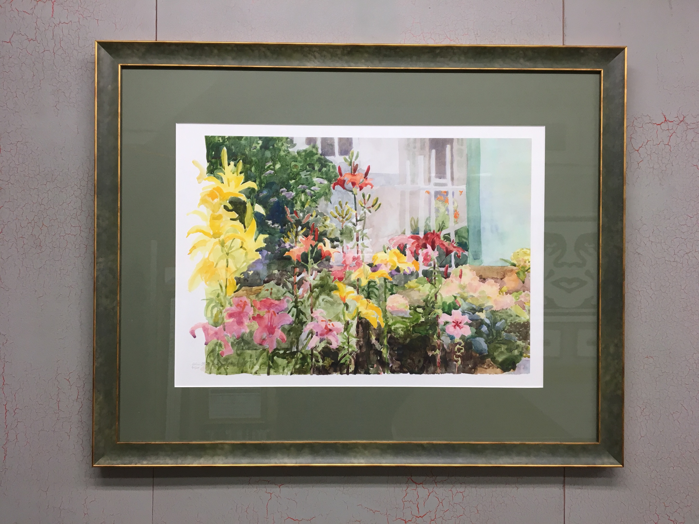 """""""Spring Lilies"""" by Alice Steer Wilson Custom Framed in a Green Acid Wash Moulding from Presto"""