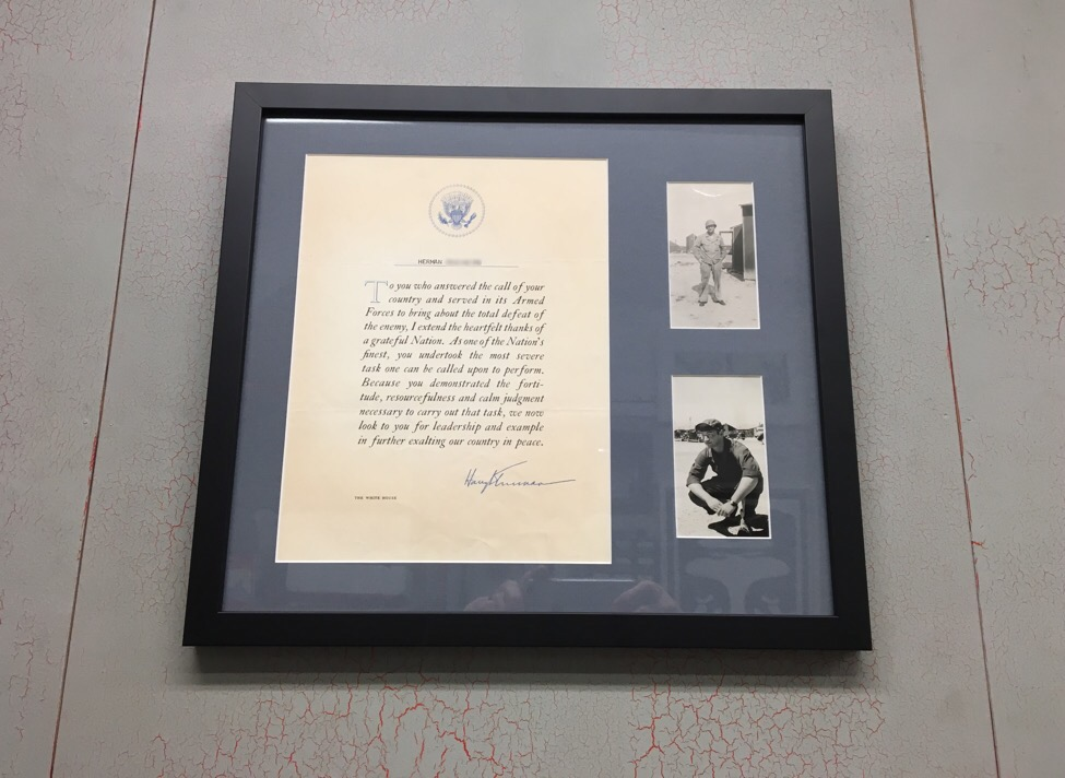 WWII Ephemera in a Simple Black Wood Frame - Display YOUR Family History