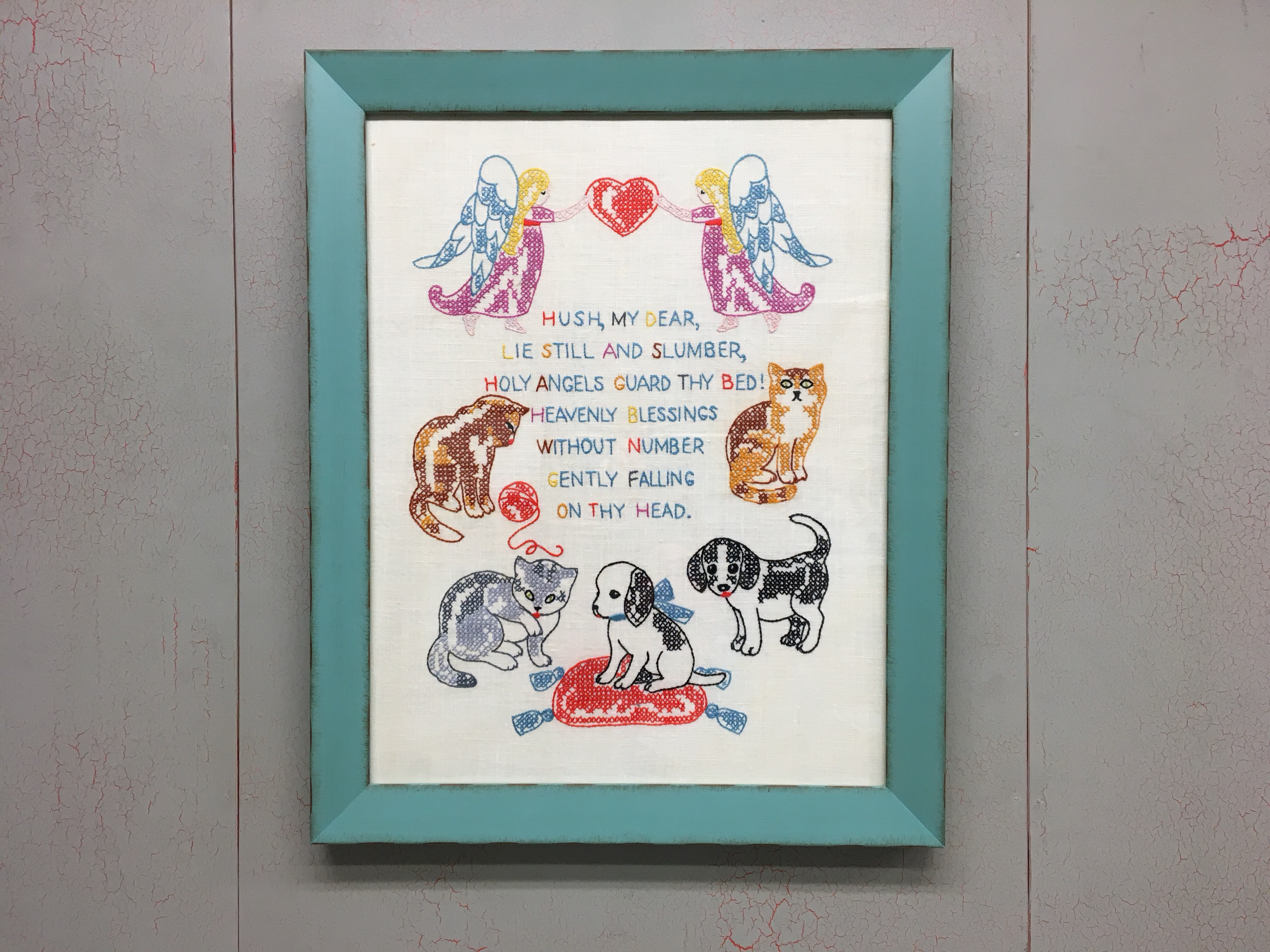 Precious Cross Stitch/Embroidery Nursery Rhyme in a Rustic Max Moulding - Archivally Stretched, of Course