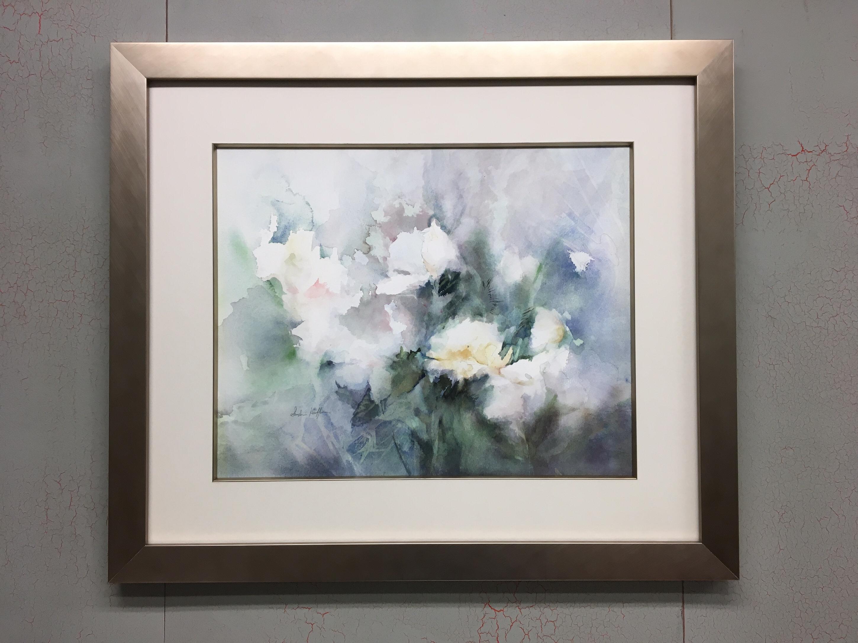 "Subtle Floral Watercolor Custom Framed Using ""Metro"" Frame and Fillet by Larson Juhl"
