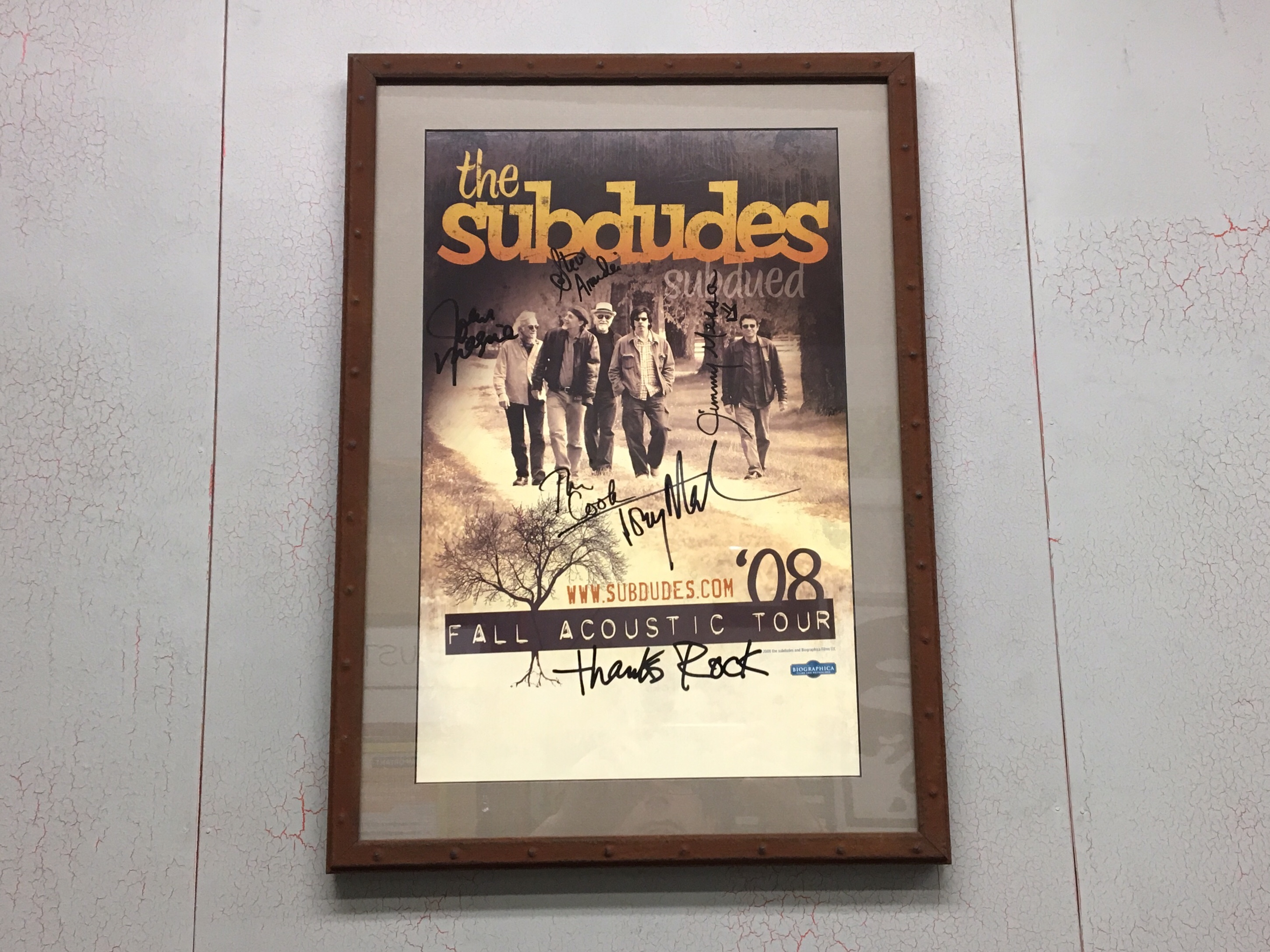"""""""The Subdudes"""" Signed Band Poster Custom Framed in Larson Juhl's """"Oxide"""" Collection"""