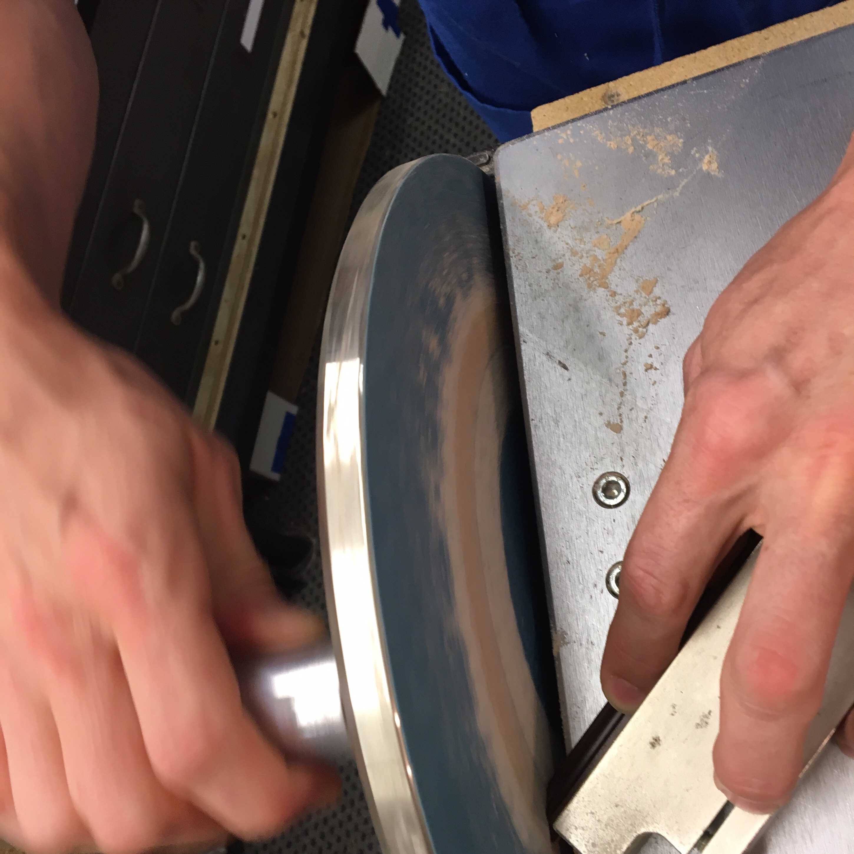 Precision = Perfection! Matt sands micrometers off a fillet until it fits flawlessly. Visit us In Keswick Village - just outside of Philadelphia, PA.