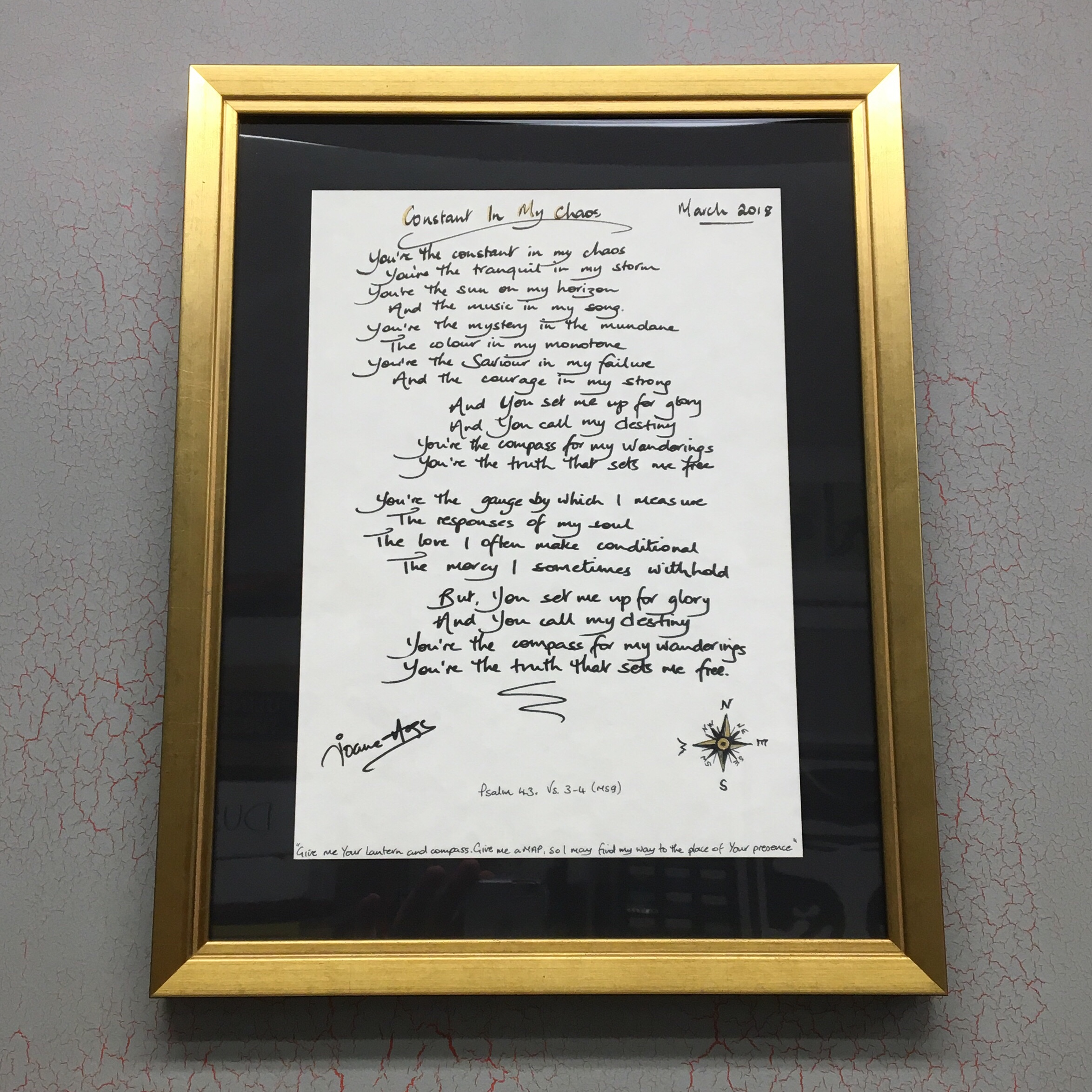 Handwritten Lyric Sheet by Joanne Hogg Float Mounted and Custom Framed in Roma Moulding. See more framing options at our Keswick Village showroom just north of Philadelphia in Glenside PA ( Pennsylvania ) , 19038 . Thousands of frame styles, prints, maps, limited editions, and more!