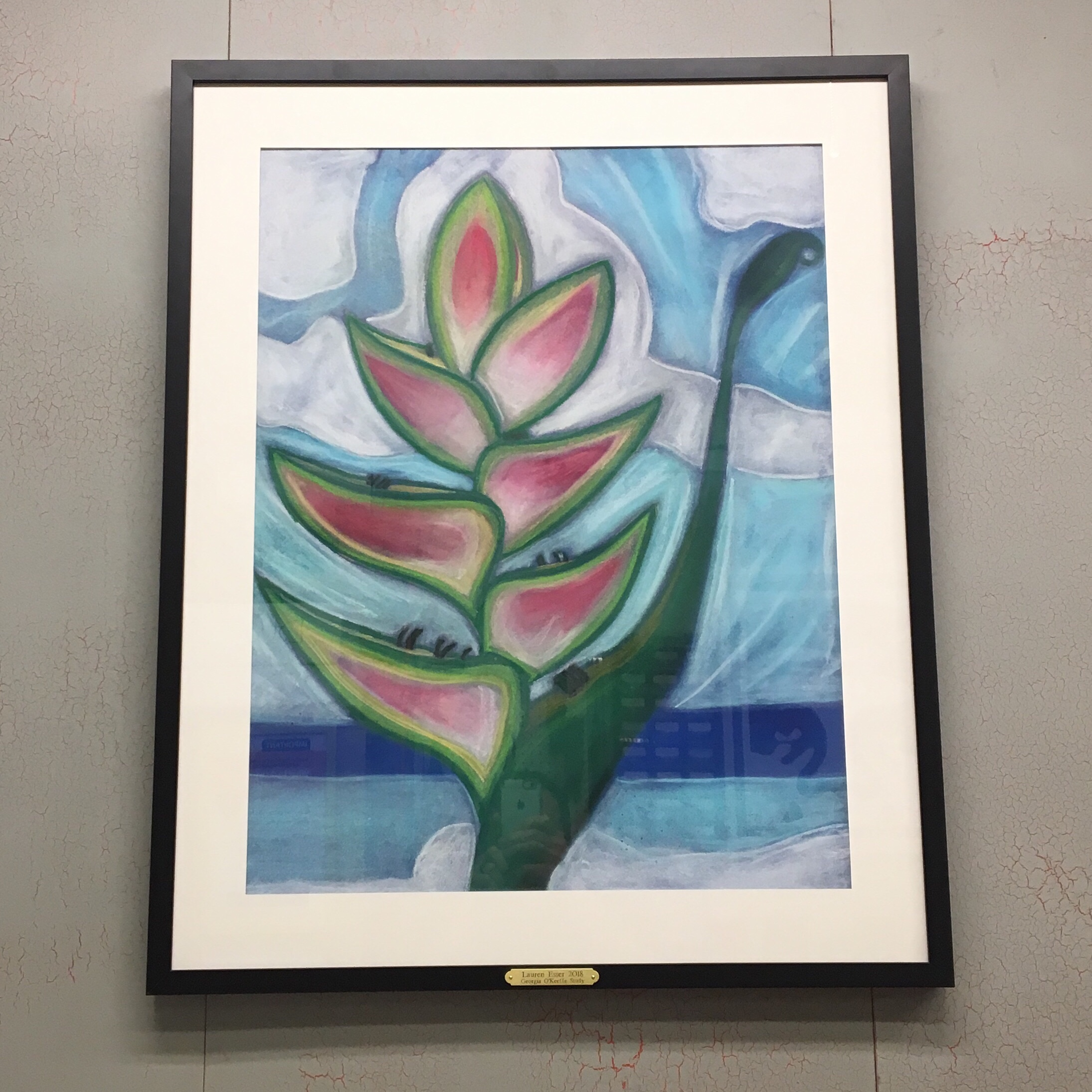 """""""O'Keeffe Study"""" Original Pastel by Lauren - Framed in a Simple Black Wood with Custom Plaque. See more framing options at our Keswick Village showroom just north of Philadelphia in Glenside PA ( Pennsylvania ) , 19038 . Thousands of frame styles, prints, maps, limited editions, and more!"""