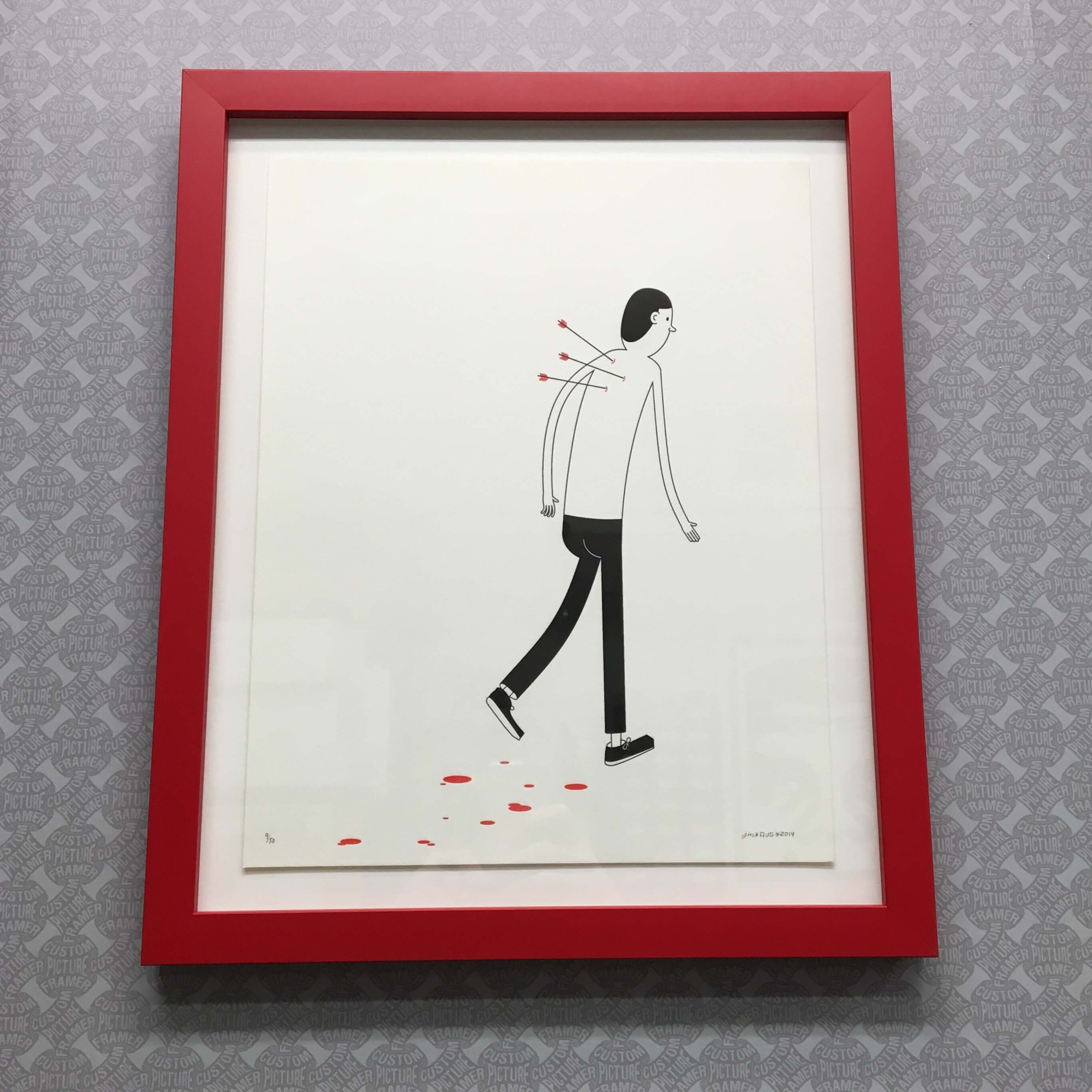 Jim Houser Print Float Mounted In A Red Wood Frame