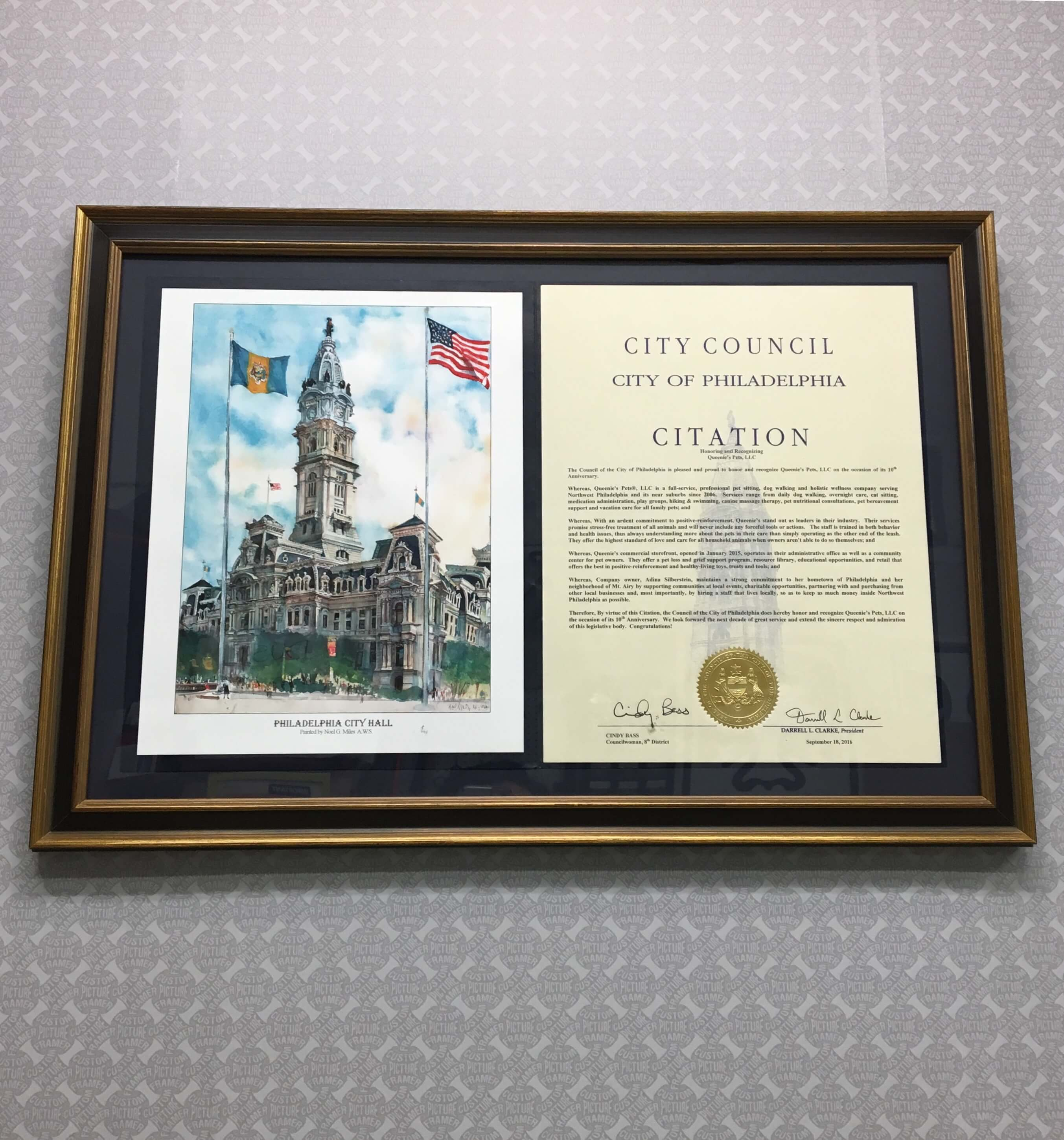 Congrats to Queenie's Pets! If your business has received an award or accolade, show it off with custom framing! See more custom framing options at our Keswick Village showroom just north of Philadelphia in Glenside PA ( Pennsylvania ) , 19038 . Custom Picture Framer of Glenside carries thousands of frame styles, prints, maps, limited editions, mirrors, and more!