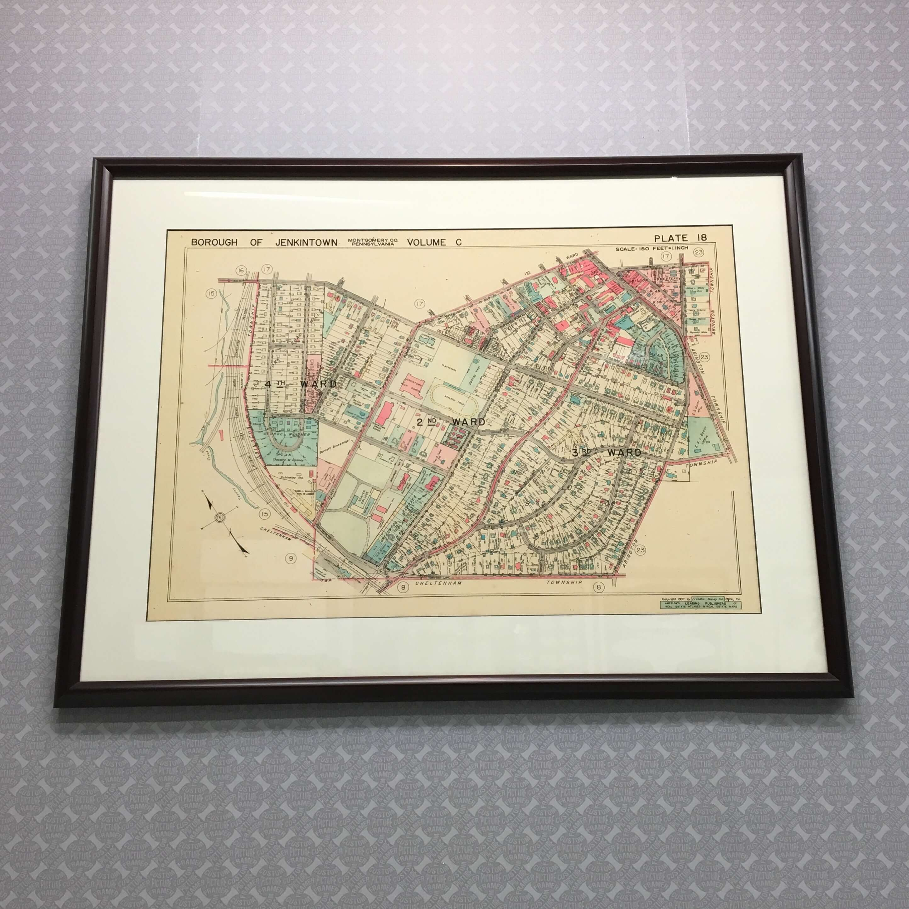Historical maps are informative works of art. Frame, reminisce, and enjoy! See more custom framing options at our Keswick Village showroom just north of Philadelphia in Glenside PA ( Pennsylvania ) , 19038 . Custom Picture Framer of Glenside carries thousands of frame styles, prints, maps, limited editions, mirrors, and more!