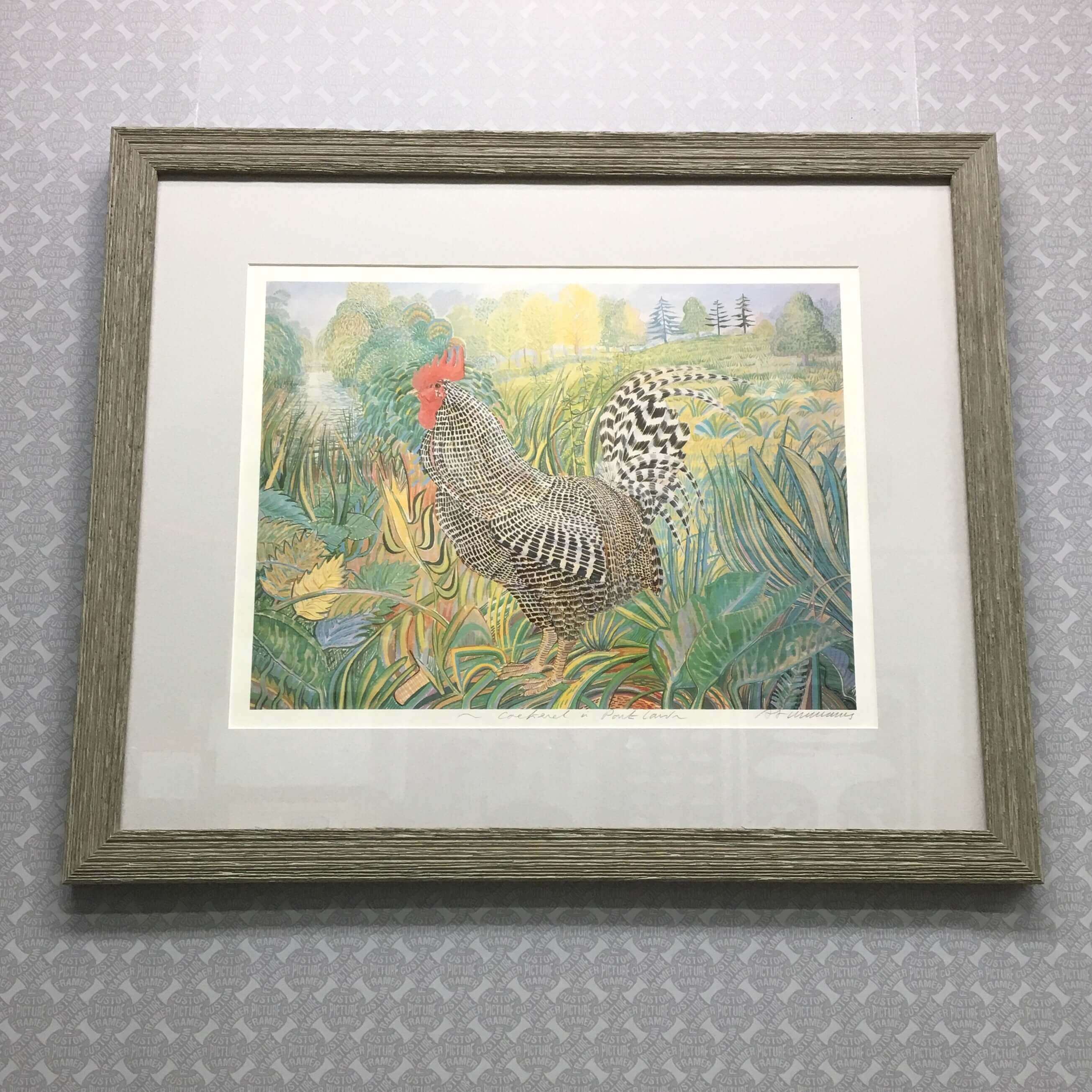 Love the art, not the frame? Oh, don't be so blue. Select a new frame...cock-a-doodle-doo! See more custom framing options at our Keswick Village showroom just north of Philadelphia in Glenside PA ( Pennsylvania ) , 19038 . Custom Picture Framer of Glenside carries thousands of frame styles, prints, maps, limited editions, mirrors, and more!