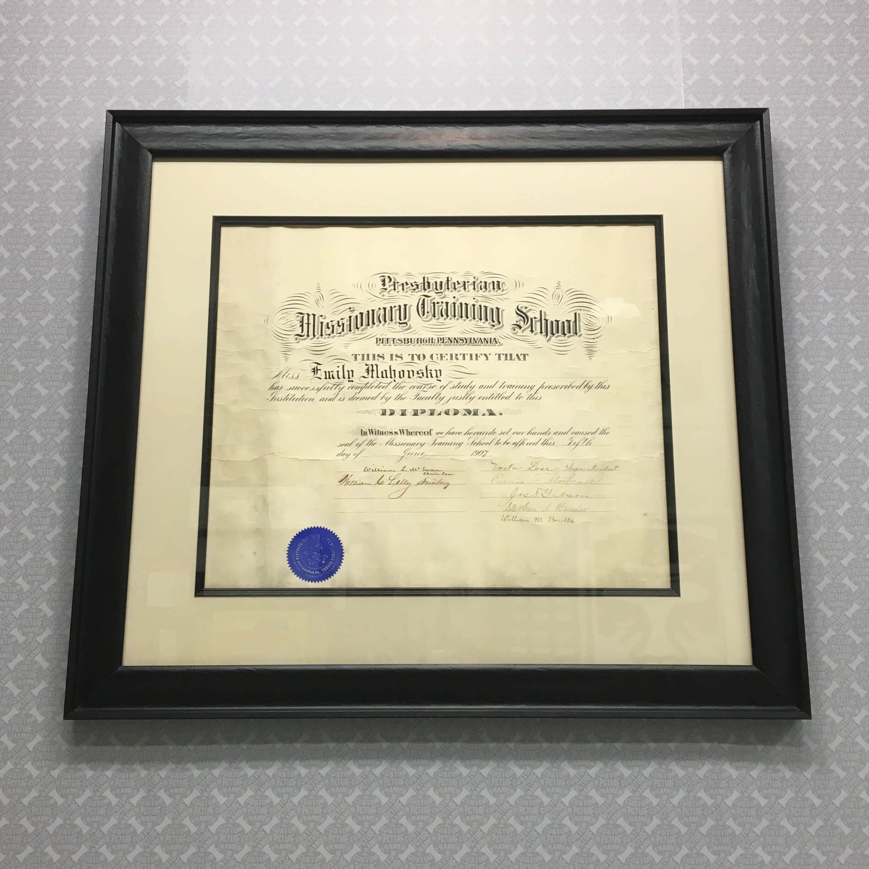 Whether it's from 2007 or 1907, isn't it time to FINALLY get that diploma framed? See more custom framing options at our Keswick Village showroom just north of Philadelphia in Glenside PA ( Pennsylvania ) , 19038 . Custom Picture Framer of Glenside carries thousands of frame styles, prints, maps, limited editions, mirrors, and more!