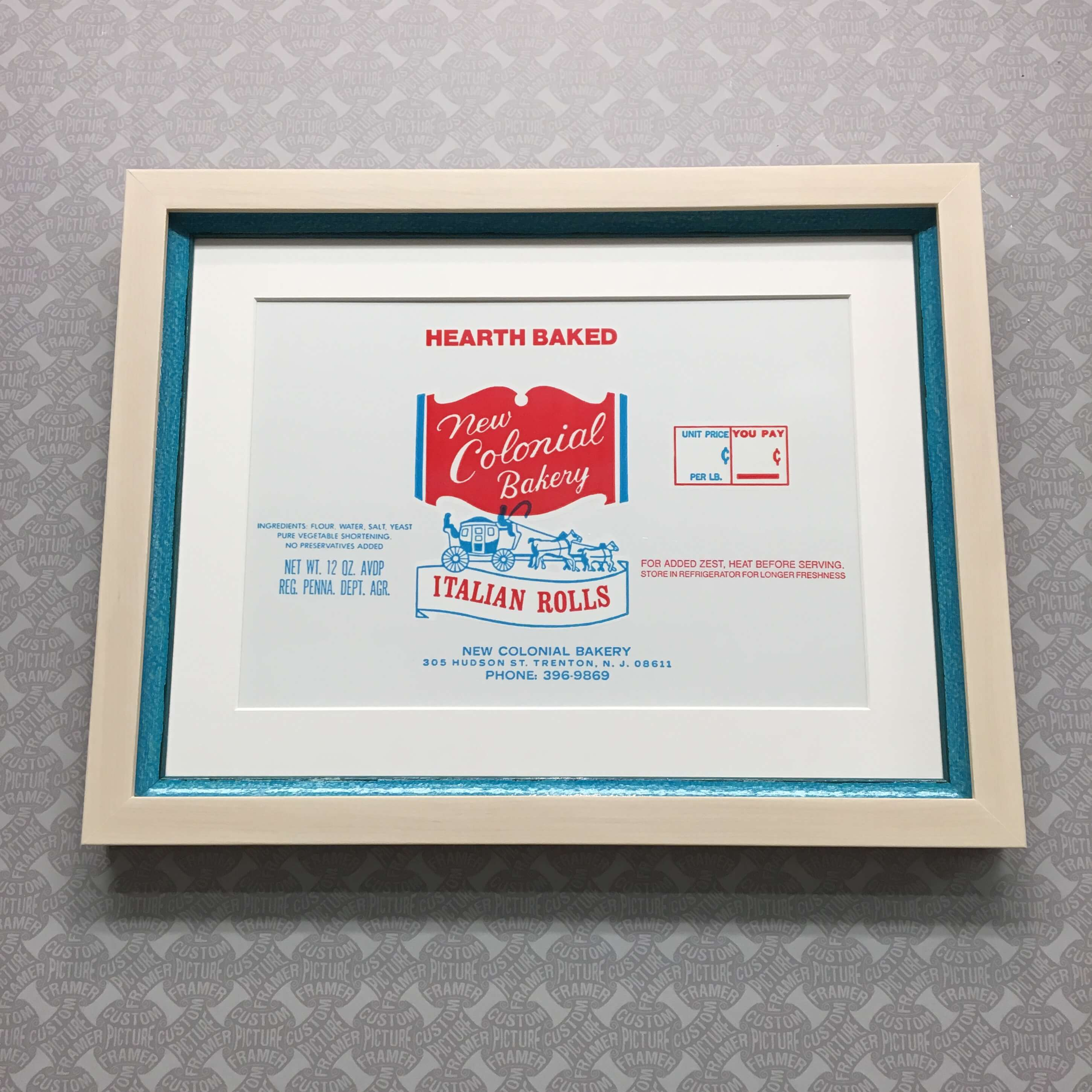 When a customer asks us to frame a plastic bag from the family bakery, all we can do is make it look AWESOME! See more custom framing options at our Keswick Village showroom just north of Philadelphia in Glenside PA ( Pennsylvania ) , 19038 . Custom Picture Framer of Glenside carries thousands of frame styles, prints, maps, limited editions, mirrors, and more!