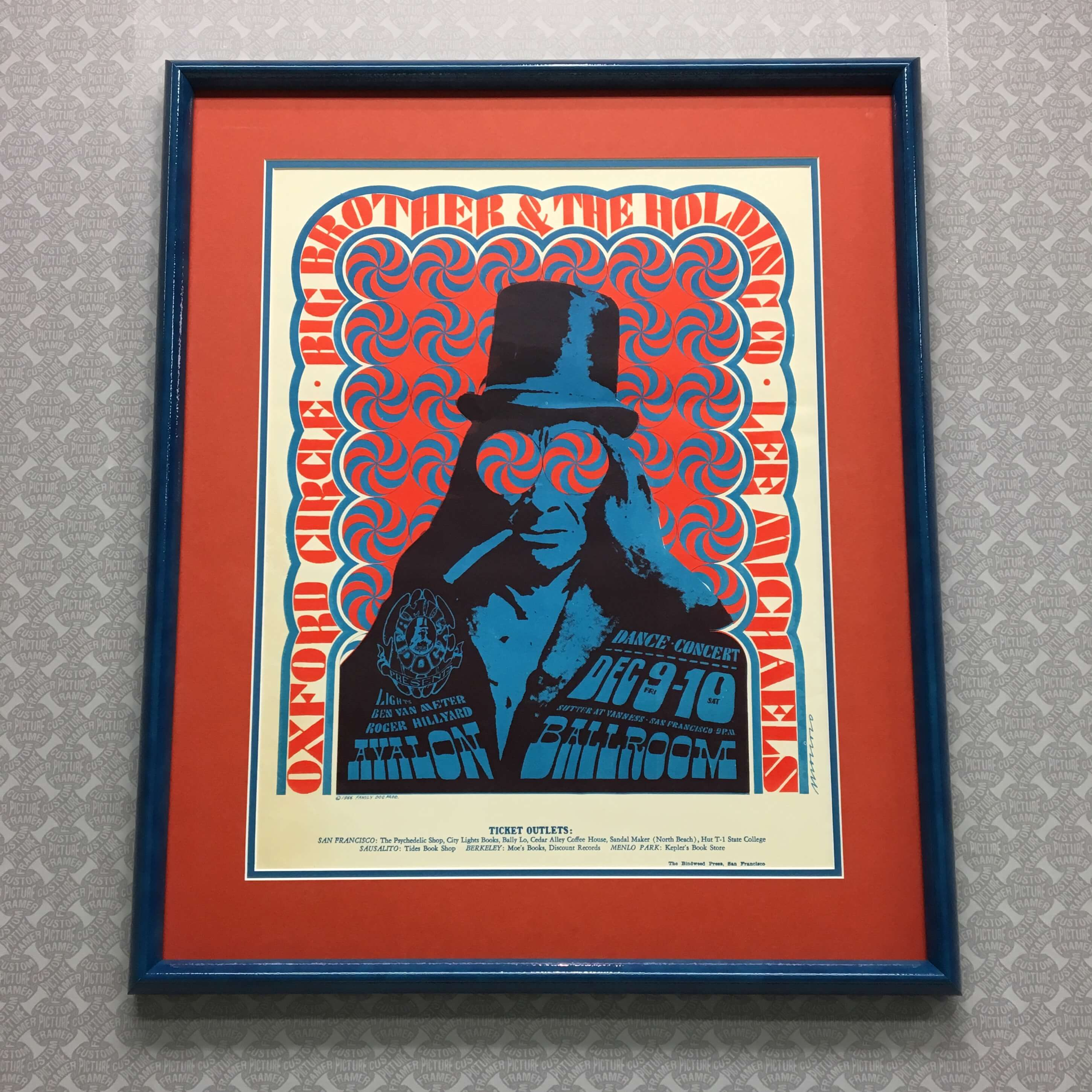 1966 Avalon Ballroom concert poster - double matted and custom framed in candy apple blue. See more custom framing options at our Keswick Village showroom just north of Philadelphia in Glenside PA ( Pennsylvania ) , 19038 . Custom Picture Framer of Glenside carries several thousand frame styles, prints, maps, limited editions, mirrors, and more!