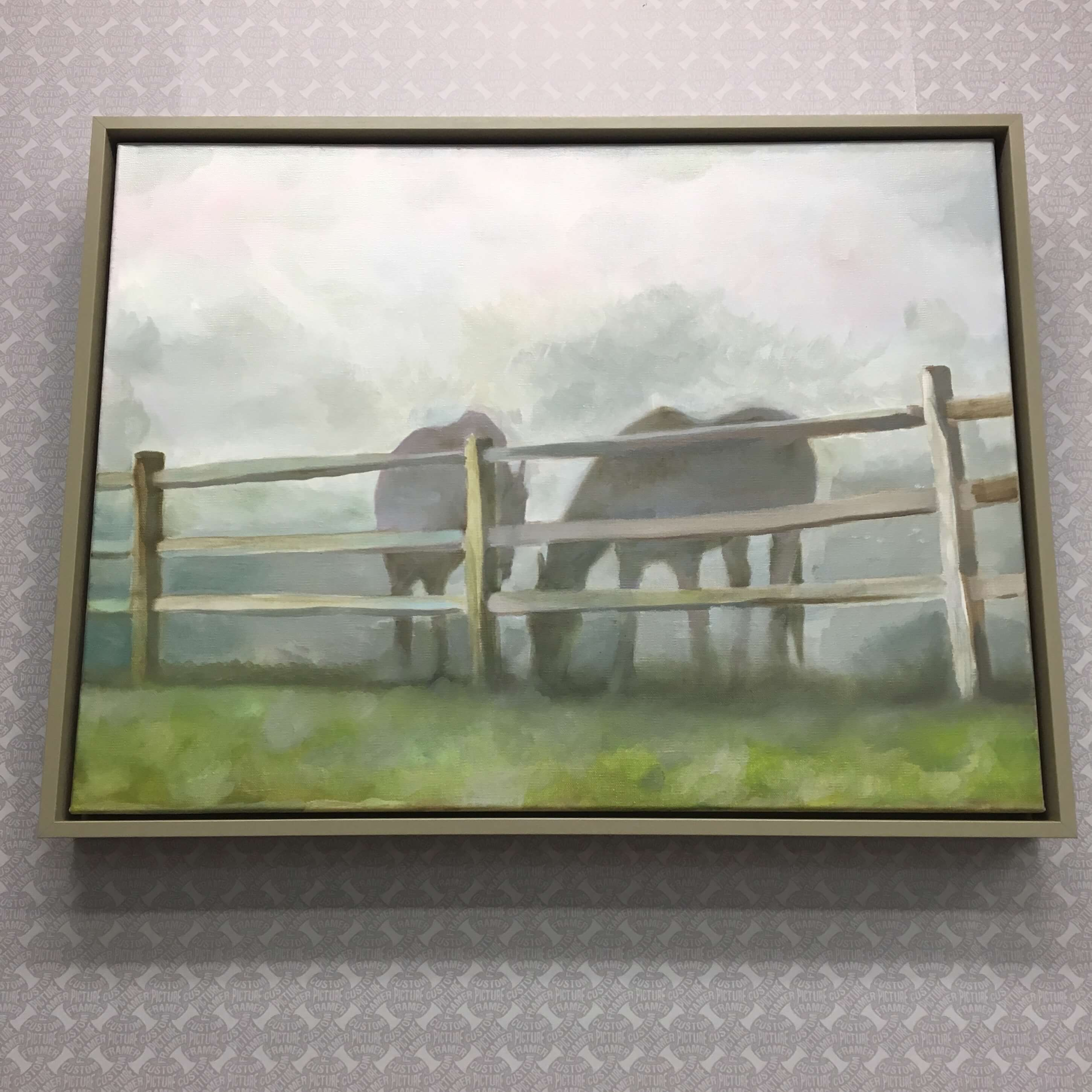 "Original ""Horses"" canvas by one of our young artists - presented in a custom grey float frame. See more custom framing options at our Keswick Village showroom just north of Philadelphia in Glenside PA ( Pennsylvania ) , 19038 . Custom Picture Framer of Glenside carries several thousand frame styles, prints, maps, limited editions, mirrors, and more!"