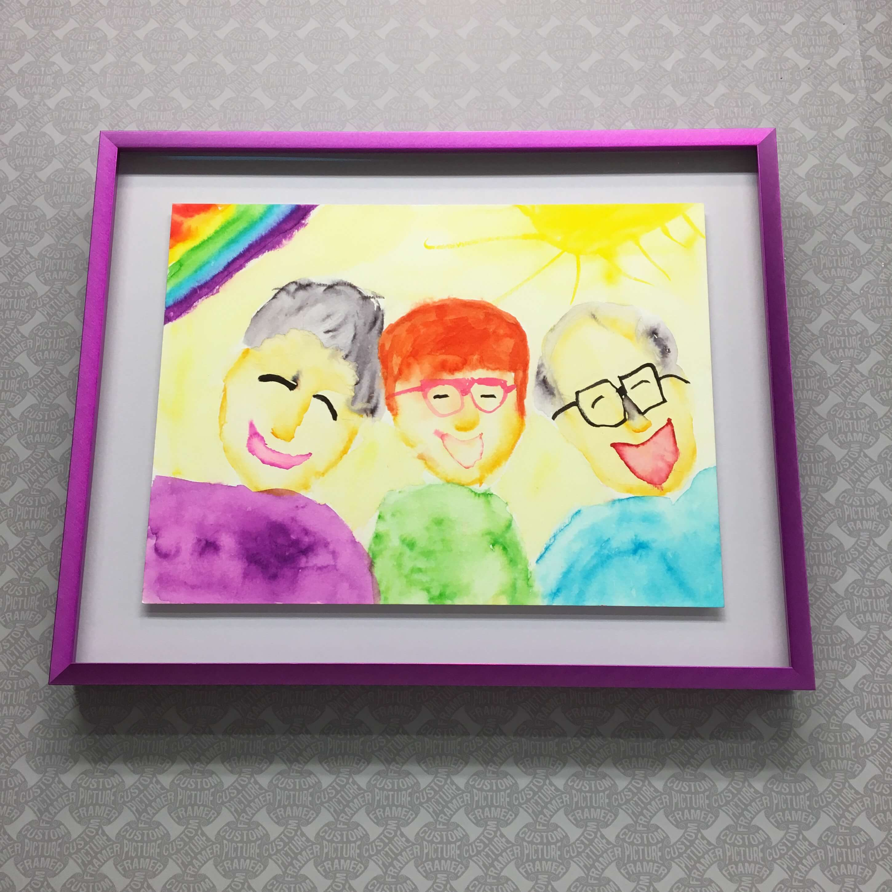 "Claire (age 7) deftly captures ""Trish and Friends"" in this brilliant original watercolor - float mounted and custom framed in a Nielsen 'Vivid' profile. See more custom framing options at our Keswick Village showroom located just north of Philadelphia in Glenside PA ( Pennsylvania ) , 19038 . Custom Picture Framer of Glenside carries several thousand frame styles, prints, maps, limited editions, mirrors, and more!"