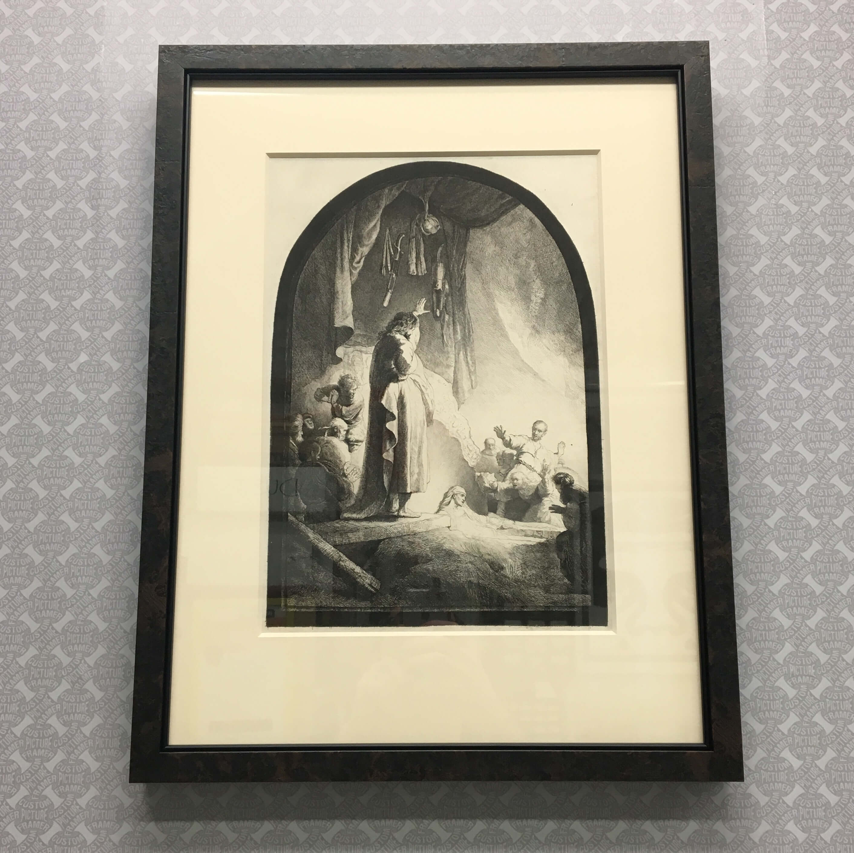 """""""The Resurrection of Lazarus"""" is a 19th century etching by Amand-Durand (after Rembrandt) - with 8 ply mat and custom framed in a Roma dark burl moulding with fillet enhancer. See more custom framing options at our Keswick Village showroom located just north of Philadelphia in Glenside PA ( Pennsylvania ) , 19038 . Custom Picture Framer of Glenside carries several thousand frame styles, prints, maps, limited editions, mirrors, and more!"""