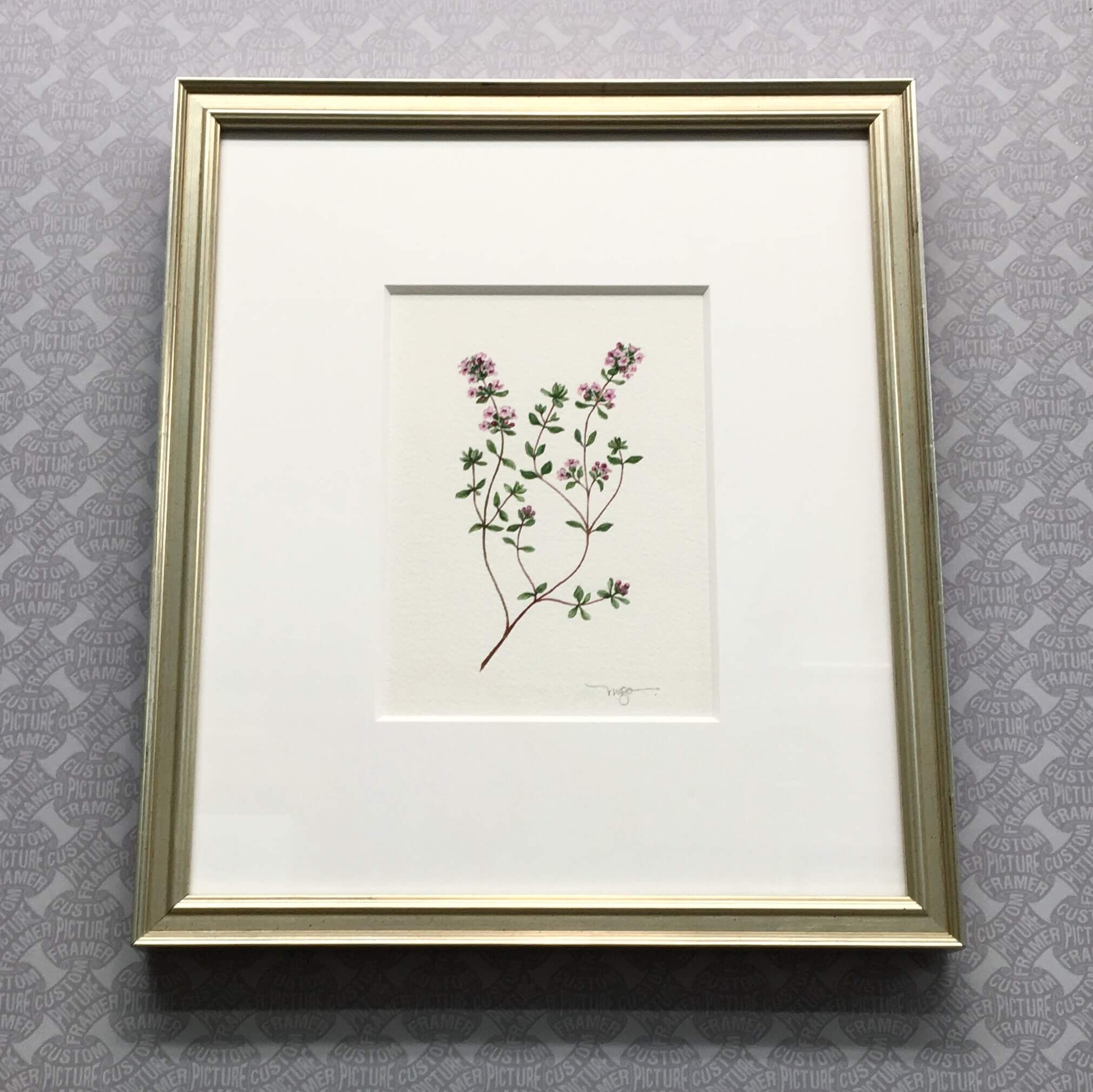 """It's Thyme"" original watercolor by Melissa G Olson - custom framed in antique silver with 8 ply mat. Are you an artist looking for quality framing at an affordable price? We'll help you prepare for shows and frame to client specifications...at a 10% discount! For more information, stop in, visit us on the web (link in bio), or call 215-572-0679."