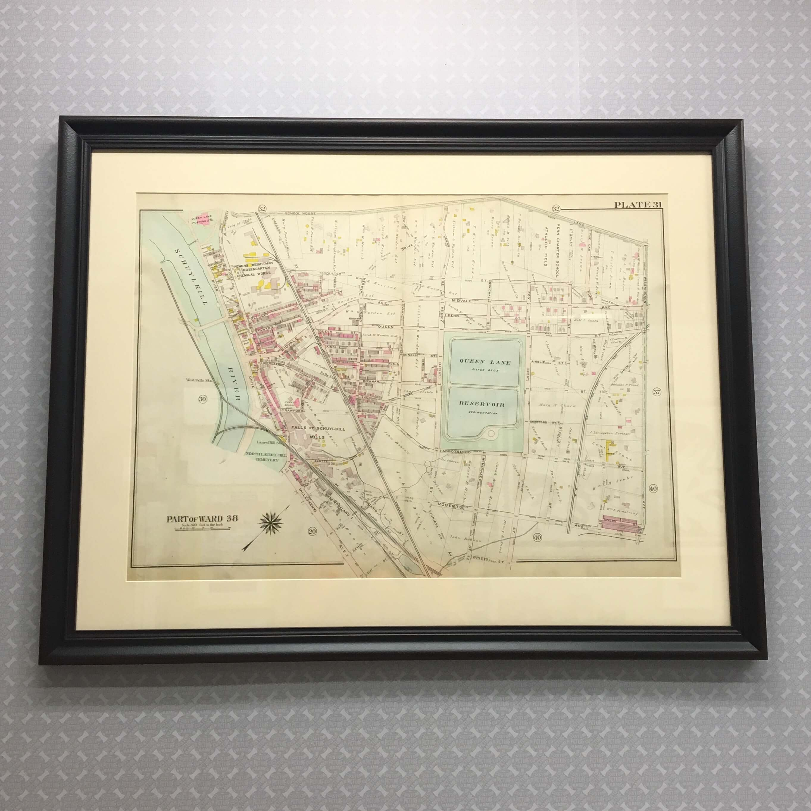 Early 20th century Philadelphia ward map of the East Falls neighborhood - custom framed in a rustic black profile. In addition to being useful, maps can be beautiful works of art. Frame and enjoy your favorite places, and share with others! For more information, stop in, visit us on the web (link in bio), or call 215-572-0679.