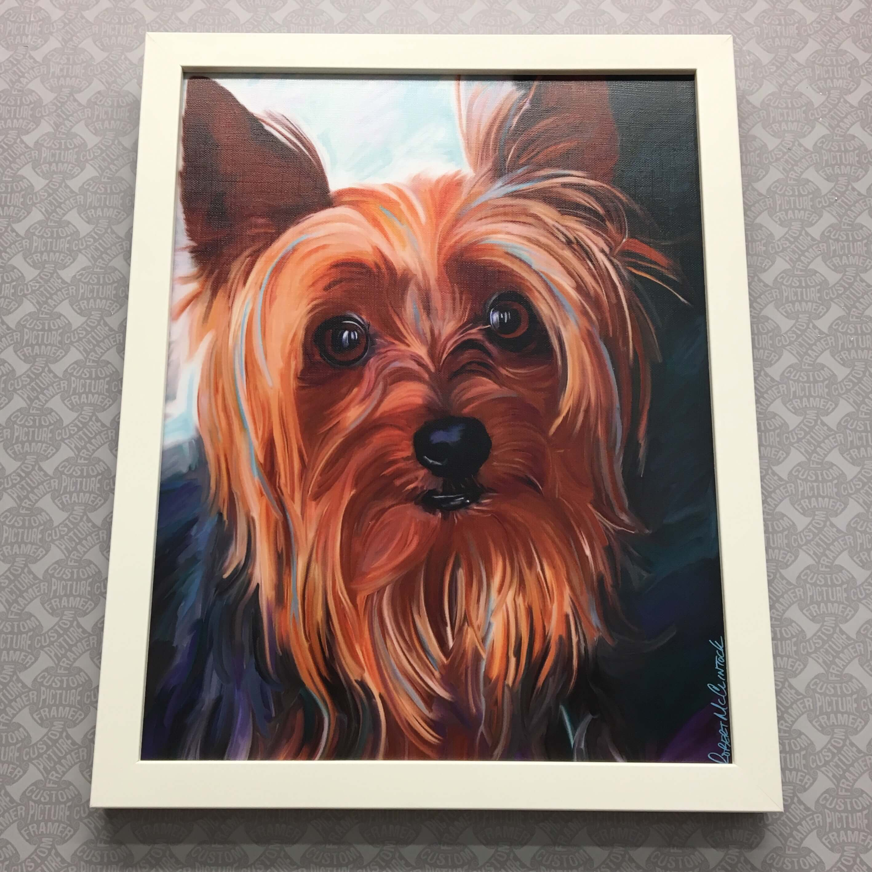 """Chester"" canvas print in a white wood frame. See more custom framing options at our Keswick Village showroom located just north of Philadelphia in Glenside PA ( Pennsylvania ) , 19038 . Custom Picture Framer of Glenside carries several thousand frame styles, prints, maps, limited editions, mirrors, and more!"