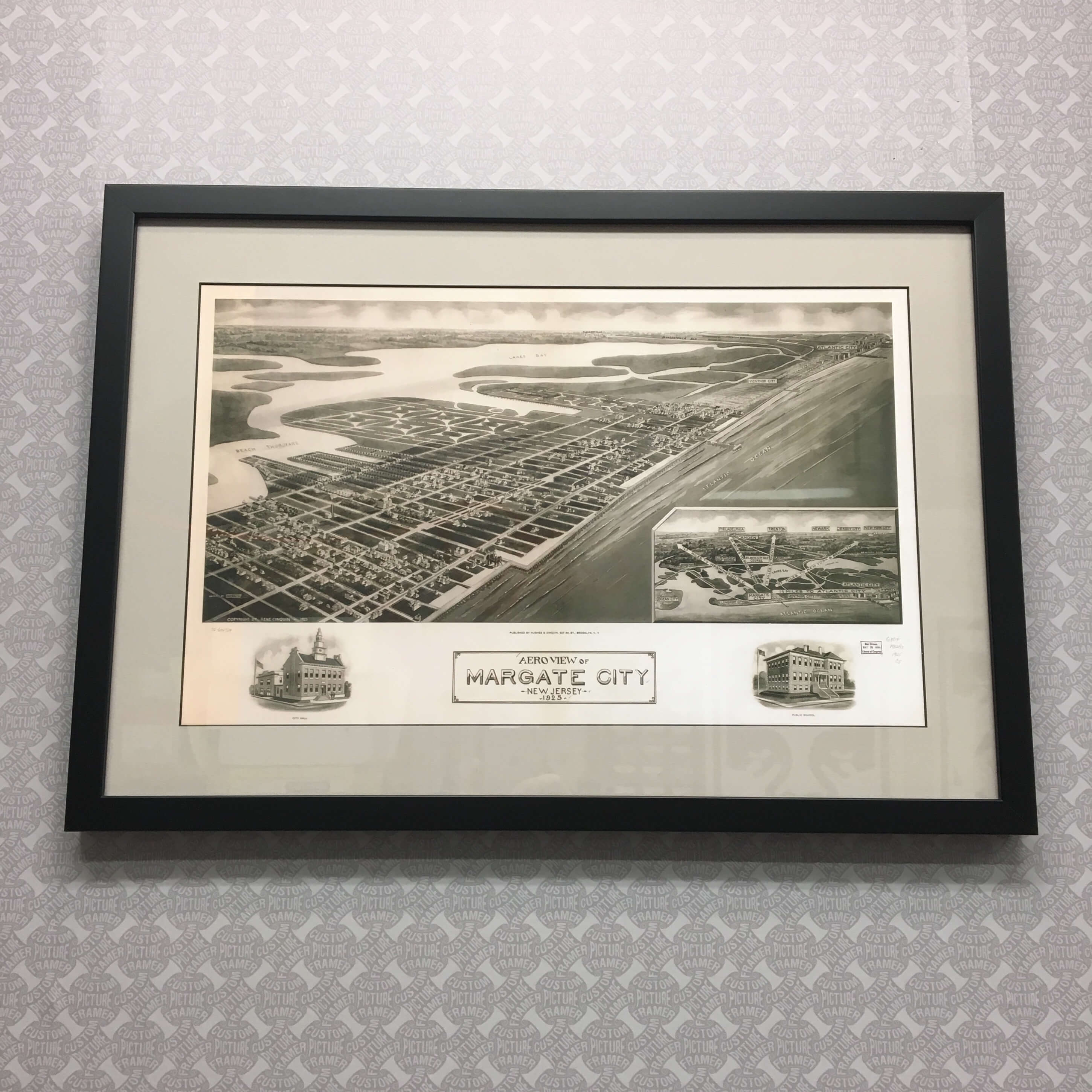 """""""Margate City, NJ"""" aerial view from 1925 - custom framed in black wood with black core mat. See more custom framing options at our Keswick Village showroom located just north of Philadelphia in Glenside PA ( Pennsylvania ) , 19038 . Custom Picture Framer of Glenside carries several thousand frame styles, prints, maps, limited editions, mirrors, and more!"""
