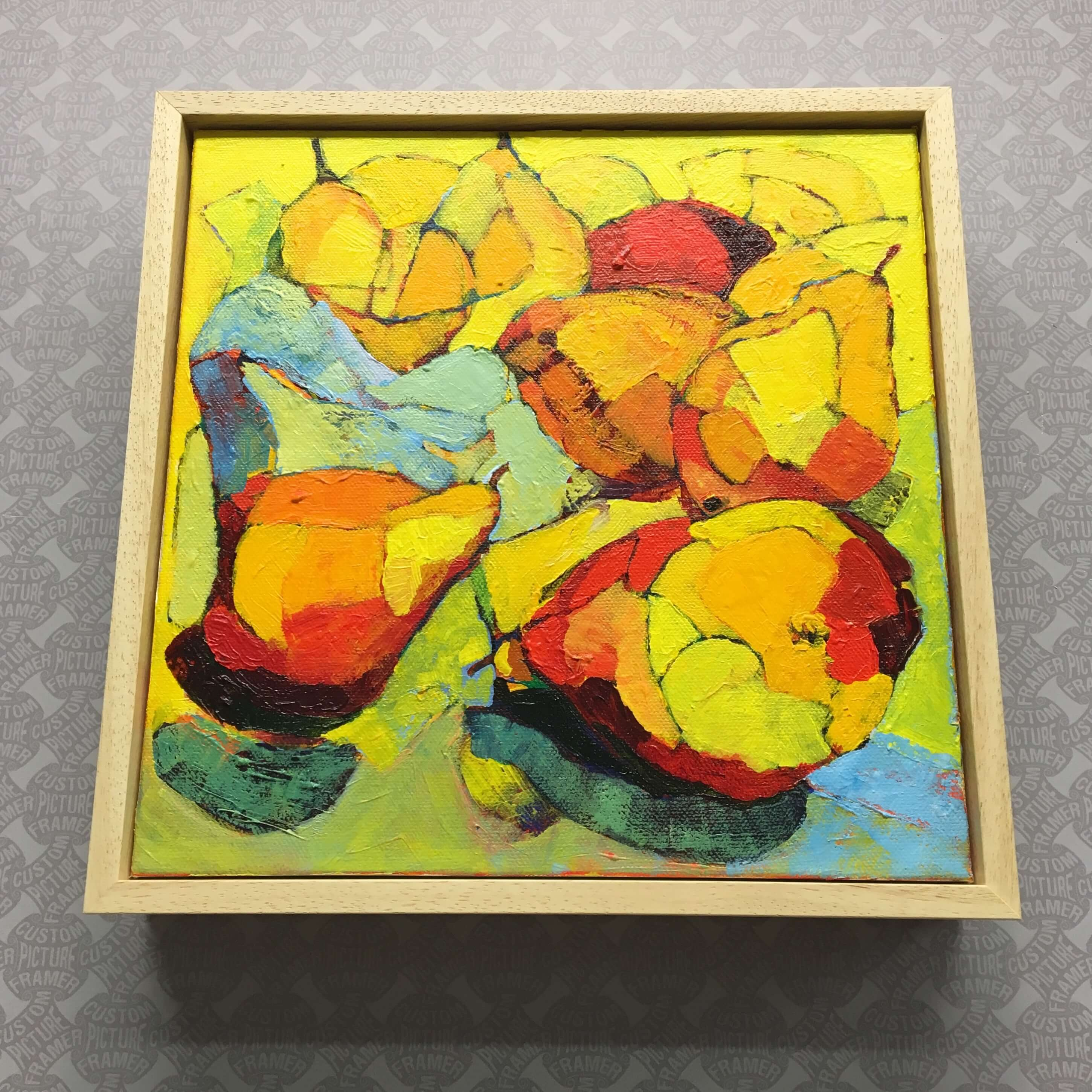 Acrylic on canvas by Ann Beatus -2019. Custom framed in a natural wood floater. See more custom framing options at our Keswick Village showroom located just north of Philadelphia in Glenside PA ( Pennsylvania ) , 19038 . Custom Picture Framer of Glenside carries several thousand frame styles, prints, maps, limited editions, mirrors, and more!