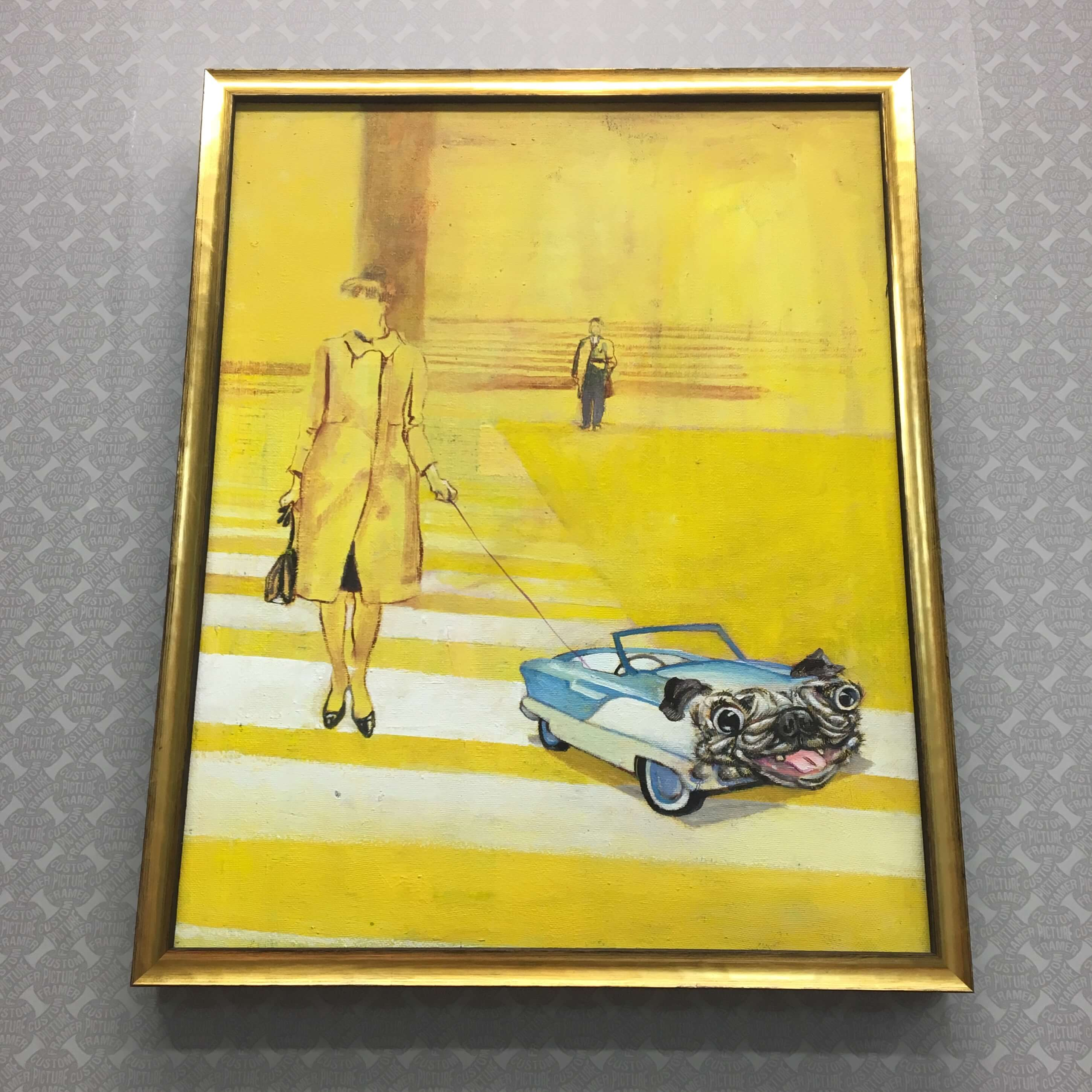 Surreal oil on canvas by Charles Brenna - custom framed in a distressed gold cap moulding. See more custom framing options at our Keswick Village showroom located just north of Philadelphia in Glenside PA ( Pennsylvania ) , 19038 . Custom Picture Framer of Glenside carries several thousand frame styles, prints, maps, limited editions, mirrors, and more!