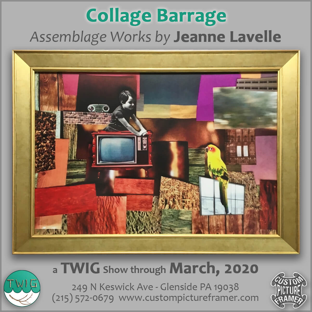 """Collage Barrage"" - Assemblage Works by Jeanne Lavelle @ Custom Picture Framer"